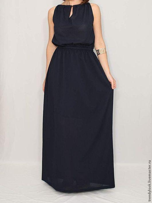 Платья ручной работы. Ярмарка Мастеров - ручная работа. Купить Шифоновое платье в пол темно-синее платье с вырезом. Handmade.