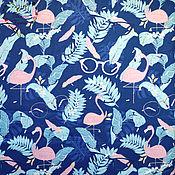 Материалы для творчества handmade. Livemaster - original item Satin China cotton Moscow flamingo with glasses cage on white smart birds. Handmade.