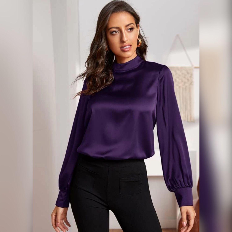 Блузка из вискозного шелка фиолетового оттенка, Блузки, Москва,  Фото №1