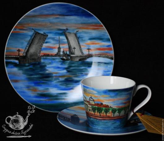 """Сервизы, чайные пары ручной работы. Ярмарка Мастеров - ручная работа. Купить Чайная тройка """"Белая ночь"""". Handmade. Разноцветный"""