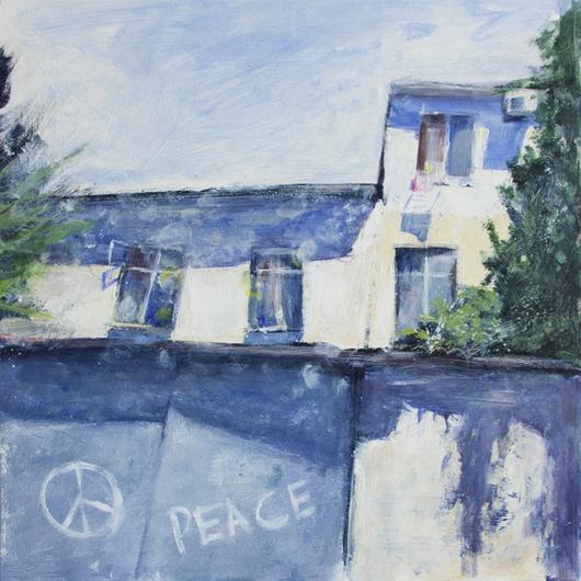Пейзаж ручной работы. Ярмарка Мастеров - ручная работа. Купить Peace. Handmade. Синий, голубой, дом, домик, солнце, Крым