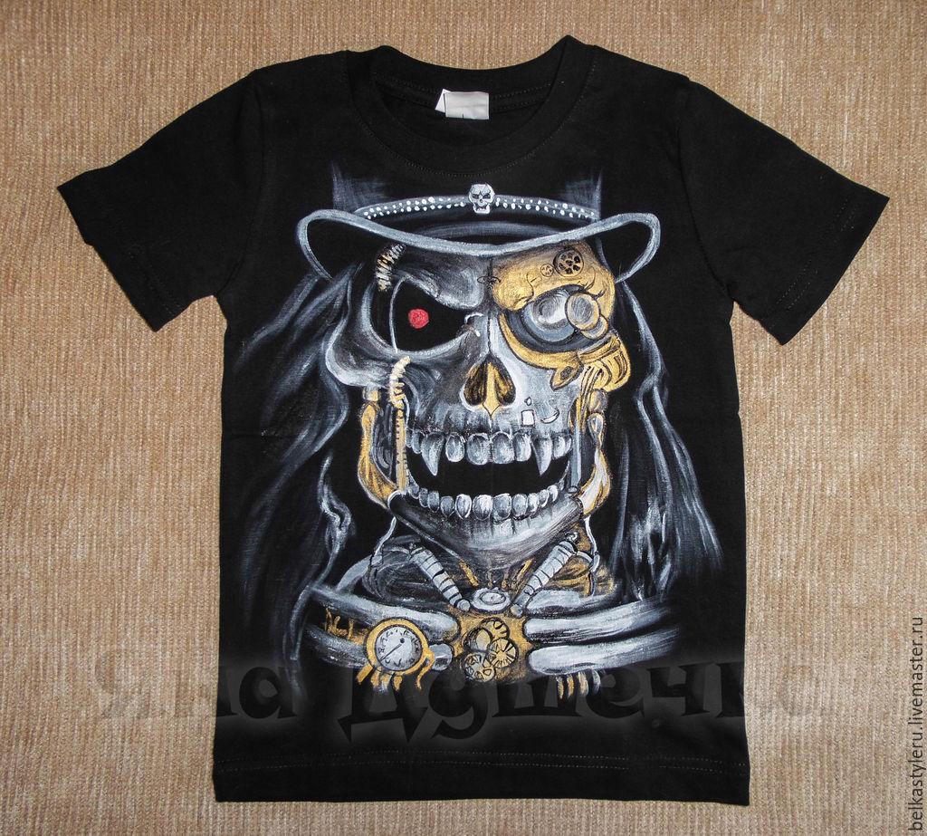 T-shirt design handmade - Steampunk Handmade T Shirt Hand Painted Skull Steampunk Belkastyle Handmade And Design