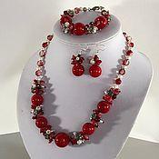 Украшения handmade. Livemaster - original item Jewelry set of red coral necklace, bracelet, earrings. Handmade.