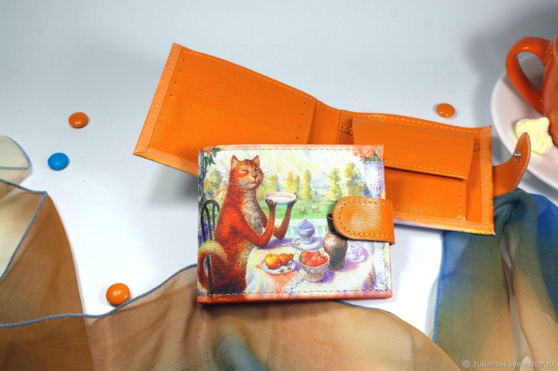 Кошелёк с рисунком Кот пьёт чай натуральная кожа для девушки, Кошельки, Киров,  Фото №1