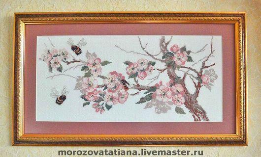 """Картины цветов ручной работы. Ярмарка Мастеров - ручная работа. Купить Вышитая крестом картина """"Весна"""". Handmade. Вышитая картина"""