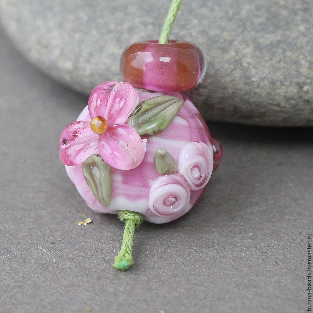Лэмпворк бусины по 1 шт Lampwork №2 (менее насыщенный рубиновый цвет)