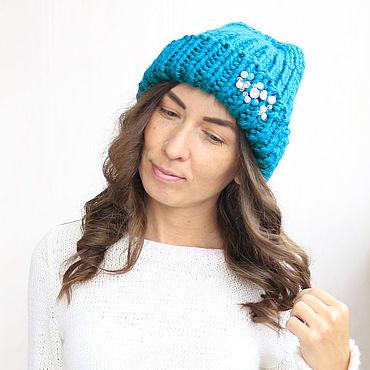 Accessories handmade. Livemaster - original item hat with thick yarn. Handmade.