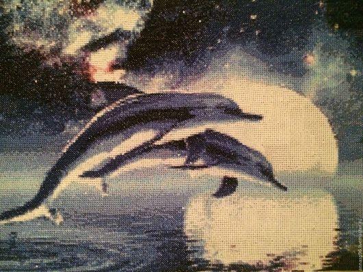 Животные ручной работы. Ярмарка Мастеров - ручная работа. Купить дельфины. Handmade. Тёмно-синий, ручная вышивка, Вышивка крестом