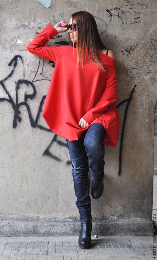 Красная блузка. Блузка-туника. Блузка из хлопка.