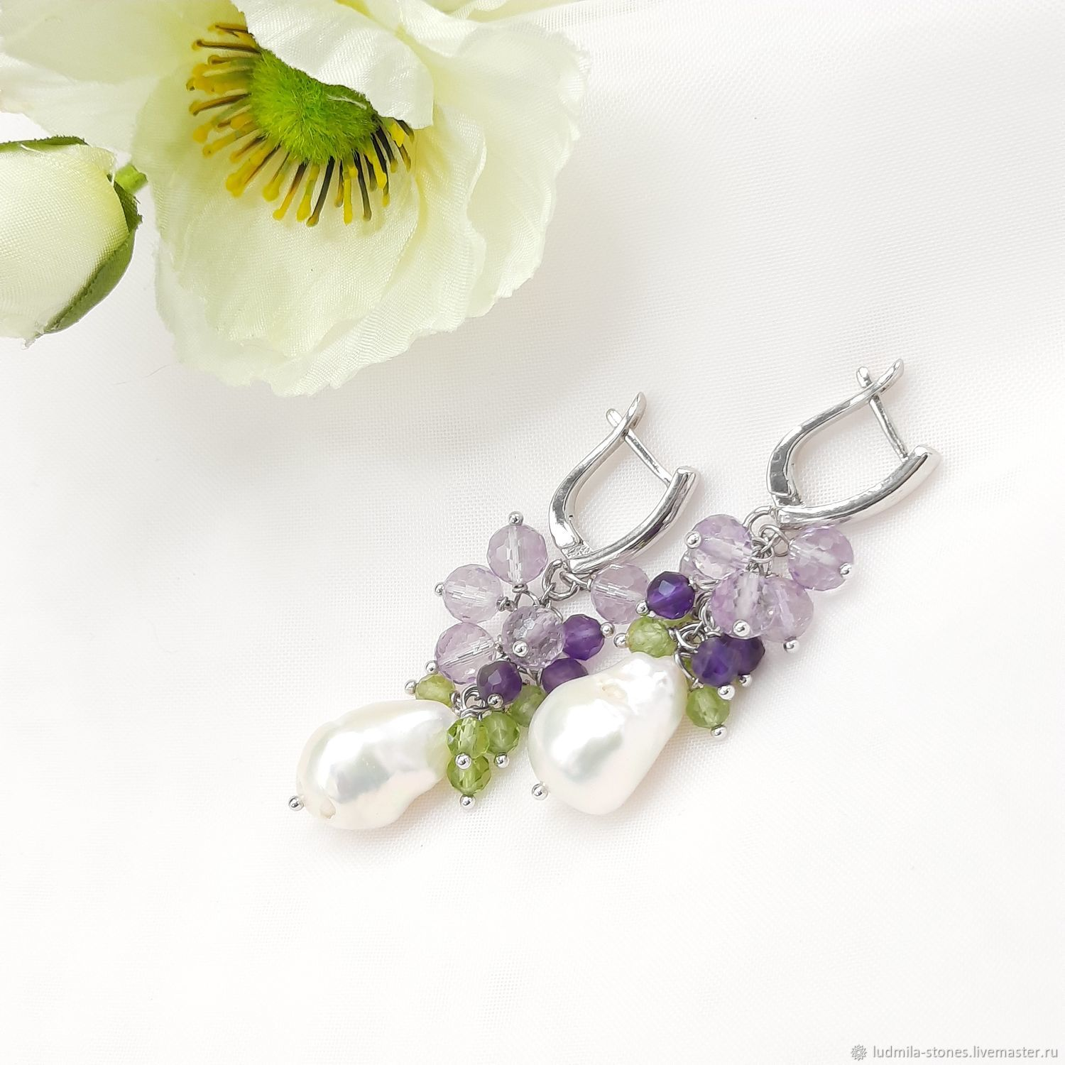 Earrings classic: Earrings with Baroque pearls amethyst and chrysolite, Earrings, Moscow,  Фото №1