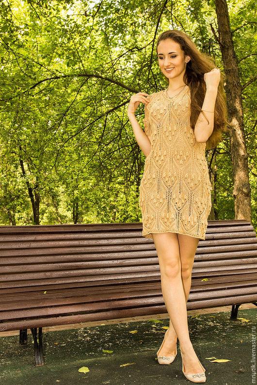 Платья ручной работы. Ярмарка Мастеров - ручная работа. Купить платье вязаное. Handmade. Бежевый, САРАФАН ВЯЗАНЫЙ