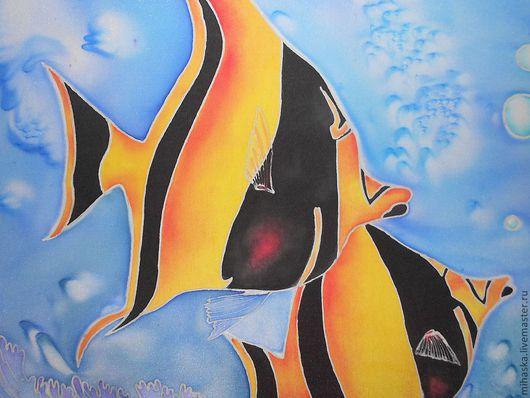 """Шали, палантины ручной работы. Ярмарка Мастеров - ручная работа. Купить Парео """"Морские глубины"""". Handmade. Рисунок, крепдешин натуральный"""