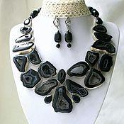 Украшения handmade. Livemaster - original item Necklace and Earrings-geodes AGATE beads.. Handmade.