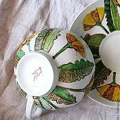"""Посуда ручной работы. Ярмарка Мастеров - ручная работа чайная пара """"Одуванчики"""". Handmade."""