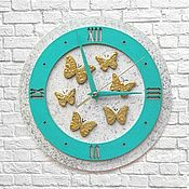 Для дома и интерьера handmade. Livemaster - original item Wall clock handmade Turquoise Gold. Handmade.