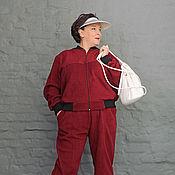 Одежда ручной работы. Ярмарка Мастеров - ручная работа Костюм из бордового флиса (бомбер и брюки). Арт. 977/981. Handmade.