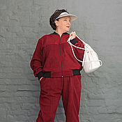 Одежда handmade. Livemaster - original item Costume of maroon fleece (jacket and pants). Art. 977/981. Handmade.