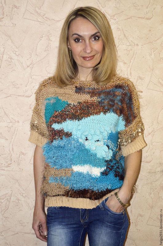"""Кофты и свитера ручной работы. Ярмарка Мастеров - ручная работа. Купить Джемпер """"Картина"""". Handmade. Комбинированный, вязаная картина, голубой"""
