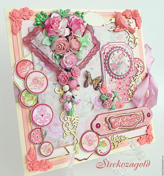 """Открытки для женщин, ручной работы. Ярмарка Мастеров - ручная работа. Купить Открытка для девушки"""" Парижская жизнь"""". Handmade. Бледно-розовый"""