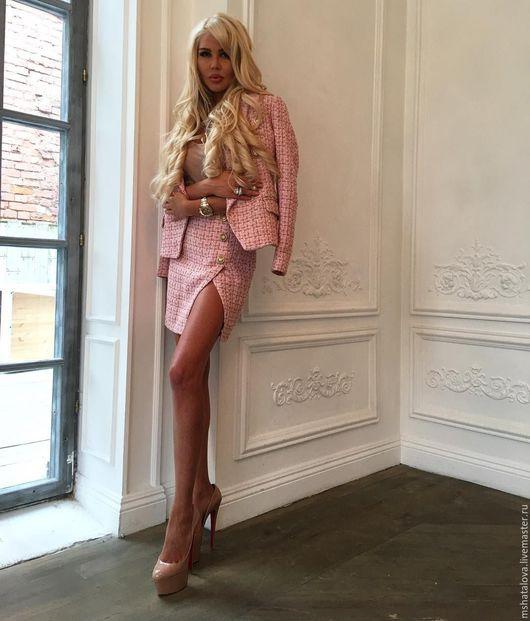 Костюмы ручной работы. Ярмарка Мастеров - ручная работа. Купить Розовый твидовый костюм. Handmade. Розовый, деловой костюм