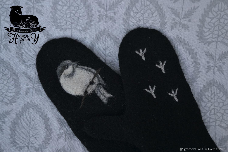 Felted mittens 'Gray bird', Mittens, Budva,  Фото №1