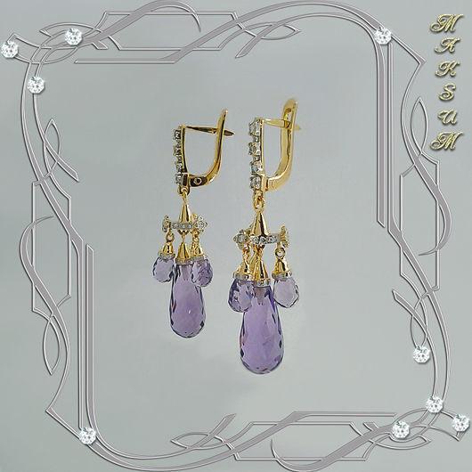 Earrings 'EMPIRE' gold 750, diamonds, amethysts, Earrings, St. Petersburg,  Фото №1