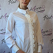 Одежда handmade. Livemaster - original item Blouse-shirt with lace. Handmade.