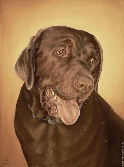 Картина маслом `Портрет лабрадора Катрины` была написана на заказ по фотографии.  Заказать портрет собаки по фотографии маслом на холсте.