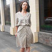 Платья ручной работы. Ярмарка Мастеров - ручная работа Платье-рубашка из льна в горошек. Handmade.