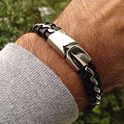 Украшения handmade. Livemaster - original item Men`s Classic Leather Bracelet with Jewelry Steel. Handmade.