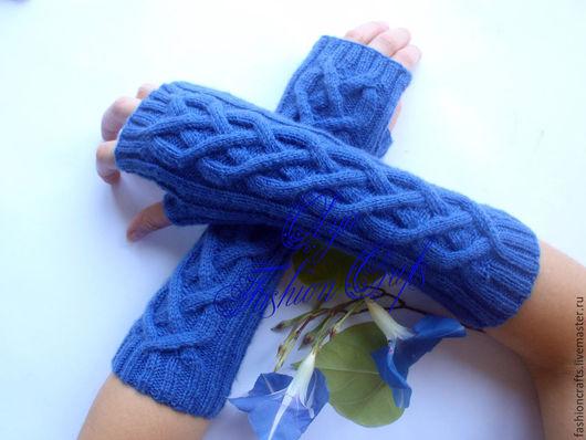 Варежки, митенки, перчатки ручной работы. Ярмарка Мастеров - ручная работа. Купить Митенки синие вязанные аранами .. Handmade. Синий