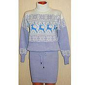 Платье - свитер вязаное с оленями и норвежским орнаментом Зима