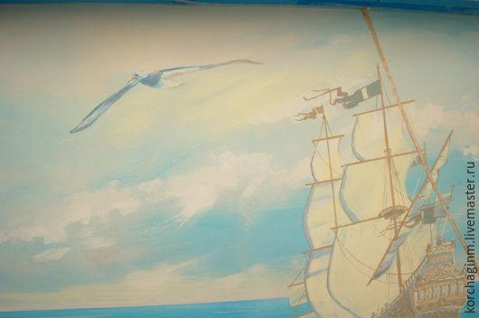 Дизайн интерьеров ручной работы. Ярмарка Мастеров - ручная работа. Купить Роспись детской_Пиратская. Handmade. Пираты, пираты карибского моря