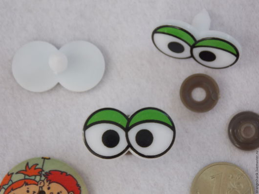 Куклы и игрушки ручной работы. Ярмарка Мастеров - ручная работа. Купить Глазки винтовые сдвоенные 30х17мм. Handmade. Зеленый