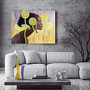 Картины ручной работы. Ярмарка Мастеров - ручная работа Негритянка, 50х60см, картина маслом на холсте, стильная, театр. Handmade.