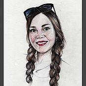 Картины и панно ручной работы. Ярмарка Мастеров - ручная работа Портрет цветными карандашами. Handmade.
