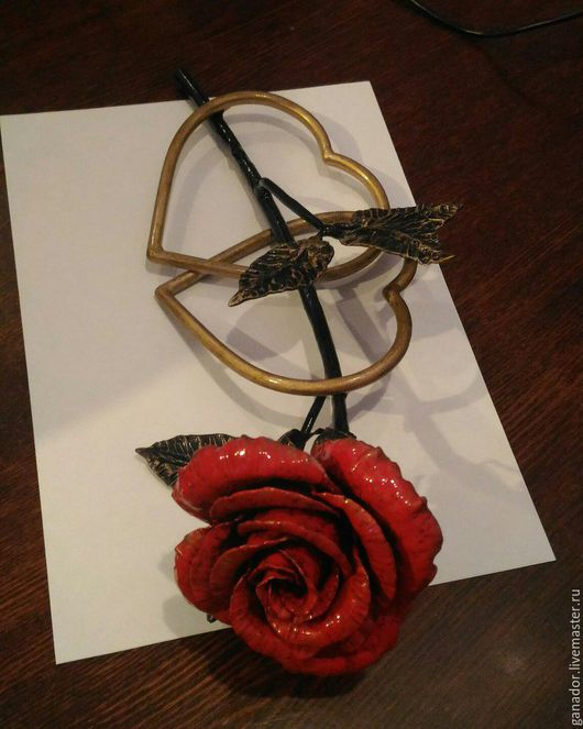 Цветы ручной работы. Ярмарка Мастеров - ручная работа. Купить Роза. Handmade. Ярко-красный, роза ручной работы, цветы