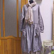 Одежда ручной работы. Ярмарка Мастеров - ручная работа Платье Монвизо, 100% лен, стиль бохо. Handmade.