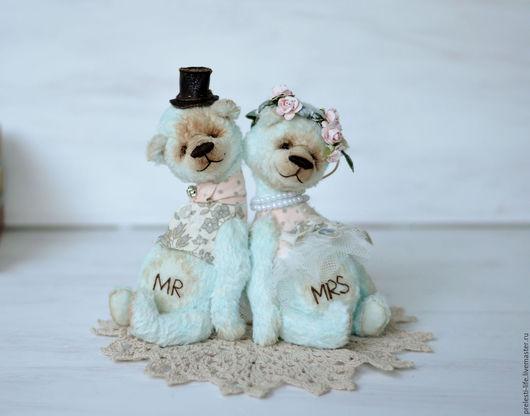 """Мишки Тедди ручной работы. Ярмарка Мастеров - ручная работа. Купить Свадебная пара мишек """" Вместе навсегда"""". Handmade."""