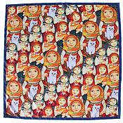 Аксессуары handmade. Livemaster - original item Handkerchief with the author`s print of silk (twill). Handmade.
