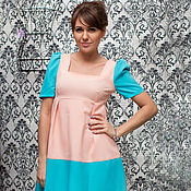 Одежда ручной работы. Ярмарка Мастеров - ручная работа Кораллово-голубое платье П-57. Handmade.