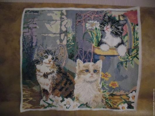 """Животные ручной работы. Ярмарка Мастеров - ручная работа. Купить """"Три милых котёнка"""". Handmade. Комбинированный, картина для интерьера, канва"""