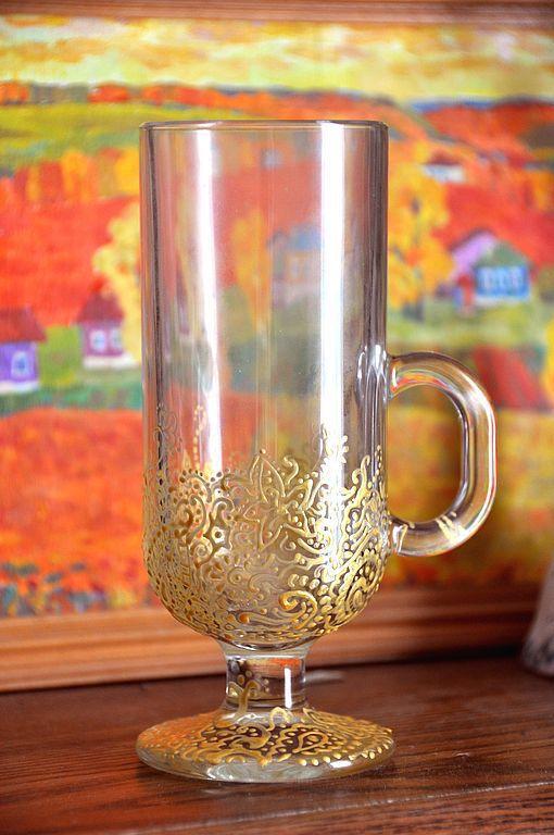 """Кухня ручной работы. Ярмарка Мастеров - ручная работа. Купить Бокал для глинтвейна """"Восточный"""". Handmade. Глинтвейн, краски по стеклу"""