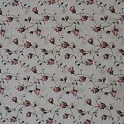 Материалы для творчества ручной работы. Ярмарка Мастеров - ручная работа Ткань лен хлопок Розы на белом. Handmade.
