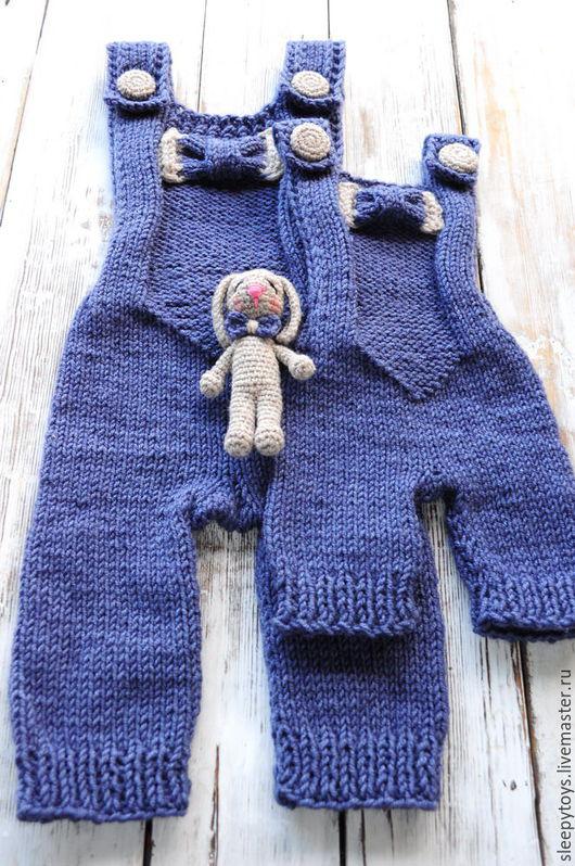 Для новорожденных, ручной работы. Ярмарка Мастеров - ручная работа. Купить Вязаный комбинезон и игрушка для фотосессии новорожденных джинсовый. Handmade.