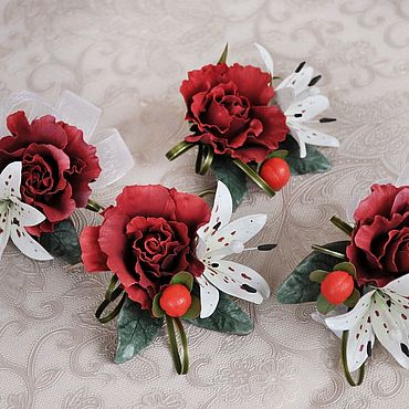 Свадебный салон ручной работы. Ярмарка Мастеров - ручная работа Повязки на руку для подружек невесты, бутоньерки. Handmade.