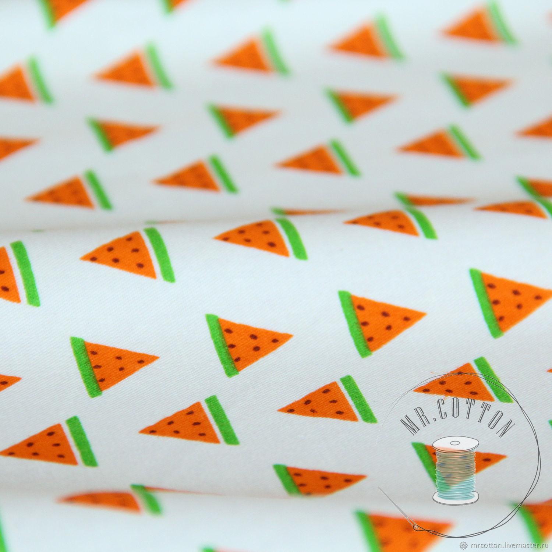 Хлопок с арбузами. Ткань сатин. 100% хлопок, Шитье, Москва, Фото №1