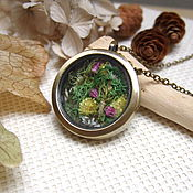 Украшения handmade. Livemaster - original item Transparent Pendant Moss and Flowers in Bronze Forest Fairy Living Memory Locket. Handmade.