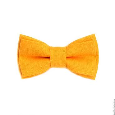 Аксессуары ручной работы. Ярмарка Мастеров - ручная работа Галстук-бабочка ярко-желтый из льна. Handmade.