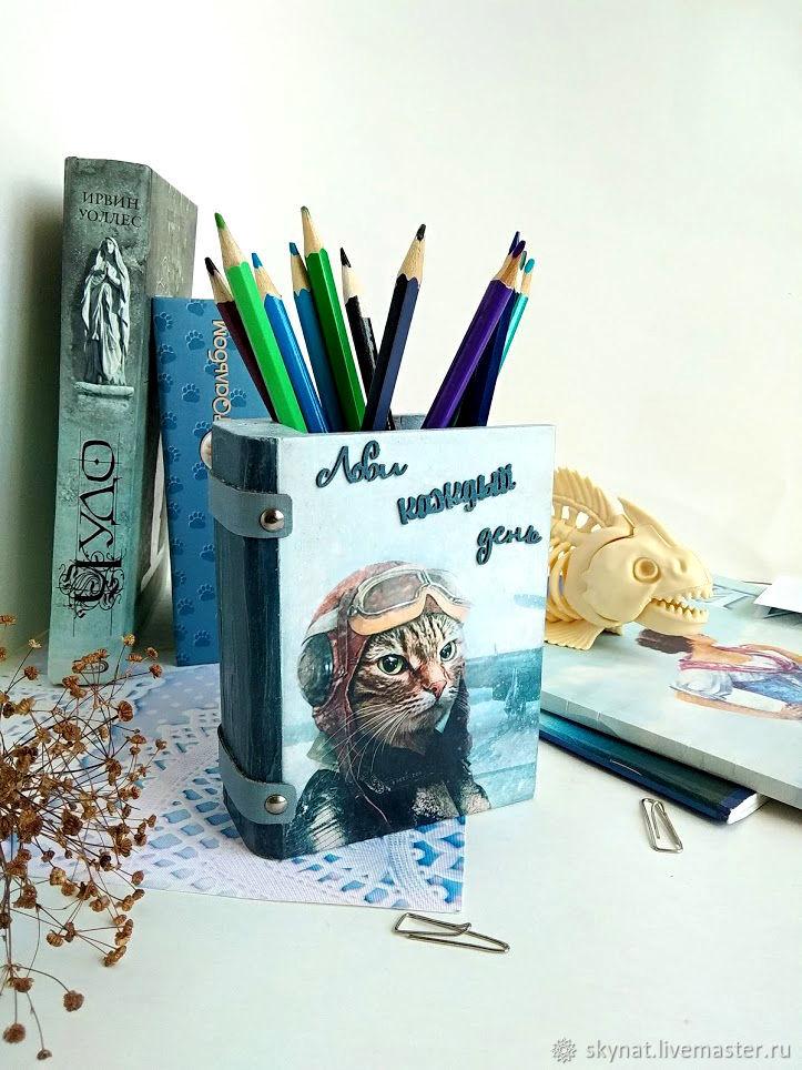 Pencil holder ' Pilot Cat', Pencil holders, Tver,  Фото №1